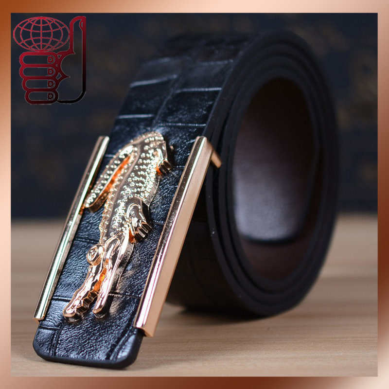 2015 Hot Crocodile Buckle Belts for Men Brand Famale and Male Strap Leather Men Belt Men Classic Jeans Women Belts Luxury Cintos(China (Mainland))