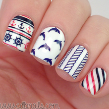BORN PRETTY BP-W07 Anchor Stripe Nail Art Water Decals Transfer Stickers