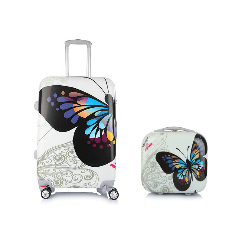 Women Butterfly Travel Suitcase Universal Wheels Trolley Luggage Bag&Girls Sets 20 inch 24 inches Rolling - Lzahua Bags Store store