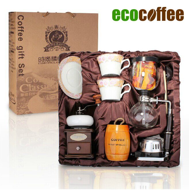 Free Shipping 1 Set Coffee set Syphon Maker Coffee Grinder Espresso Cappuccino coffee maker(China (Mainland))