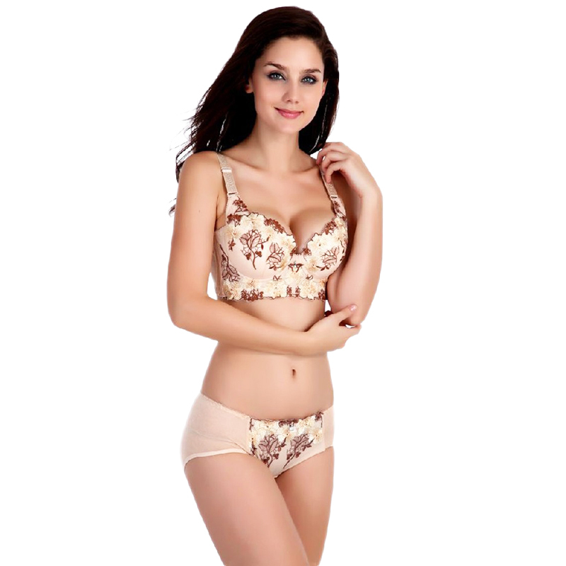 SA 2015 Luxury Deep V lingerie New brand sexy Plus size Multi Color push up bra set floral embroidery lace women underwear sets(China (Mainland))