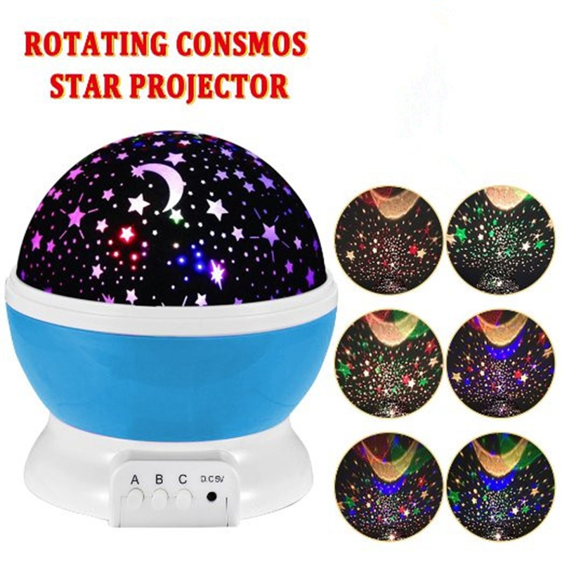 Room Novelty Night Light Projector Lamp Rotary Flashing Starry Star Moon Sky Star Projector Kids Children Baby Abajur Infantil(China (Mainland))