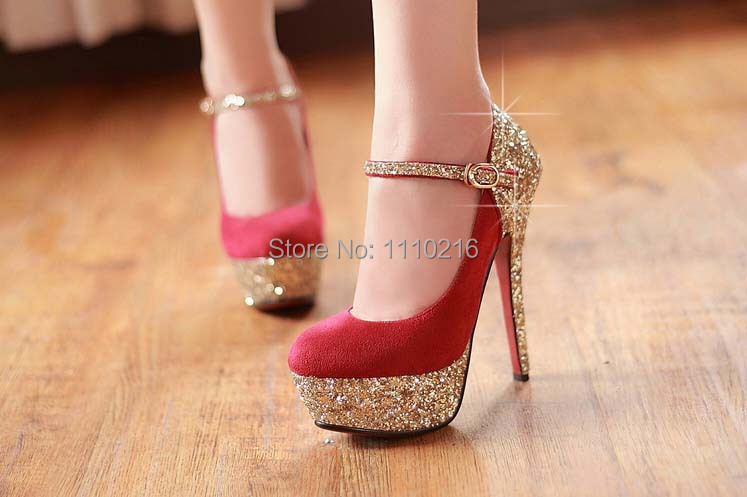 2016 spring new fashion strappy thin high heels platform wedding buckle pumps sexy glitter party ankle strap women's shoes