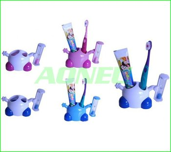 Free shipping 10/lot Creative Cute Cartoon 3 Minutes Hourglass Toothbrush Holders/Stand with Sand timer Useful Household Goods