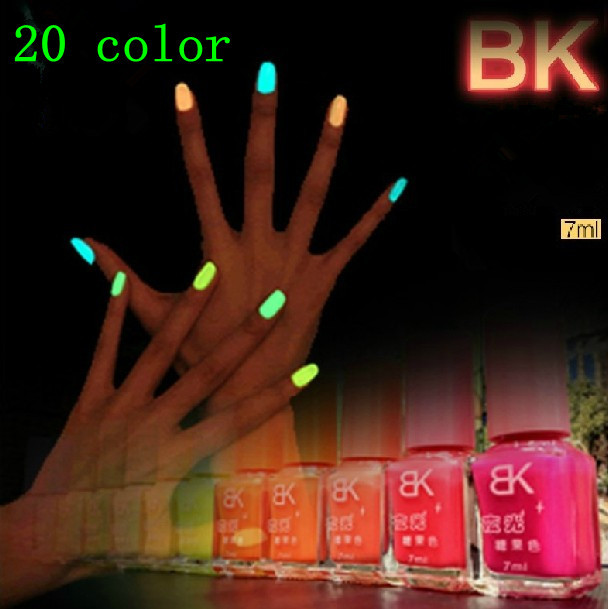 series 20 color 7ml Fluorescent Neon Luminous Nail Polish Glow Dark Varnish Enamel - yanmenglei store