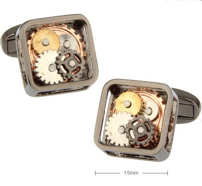 Factory Price Retail Men's Cufflinks Brass Material Gun Black Color Watch Movement Design Cuff Links Free Shipping(China (Mainland))