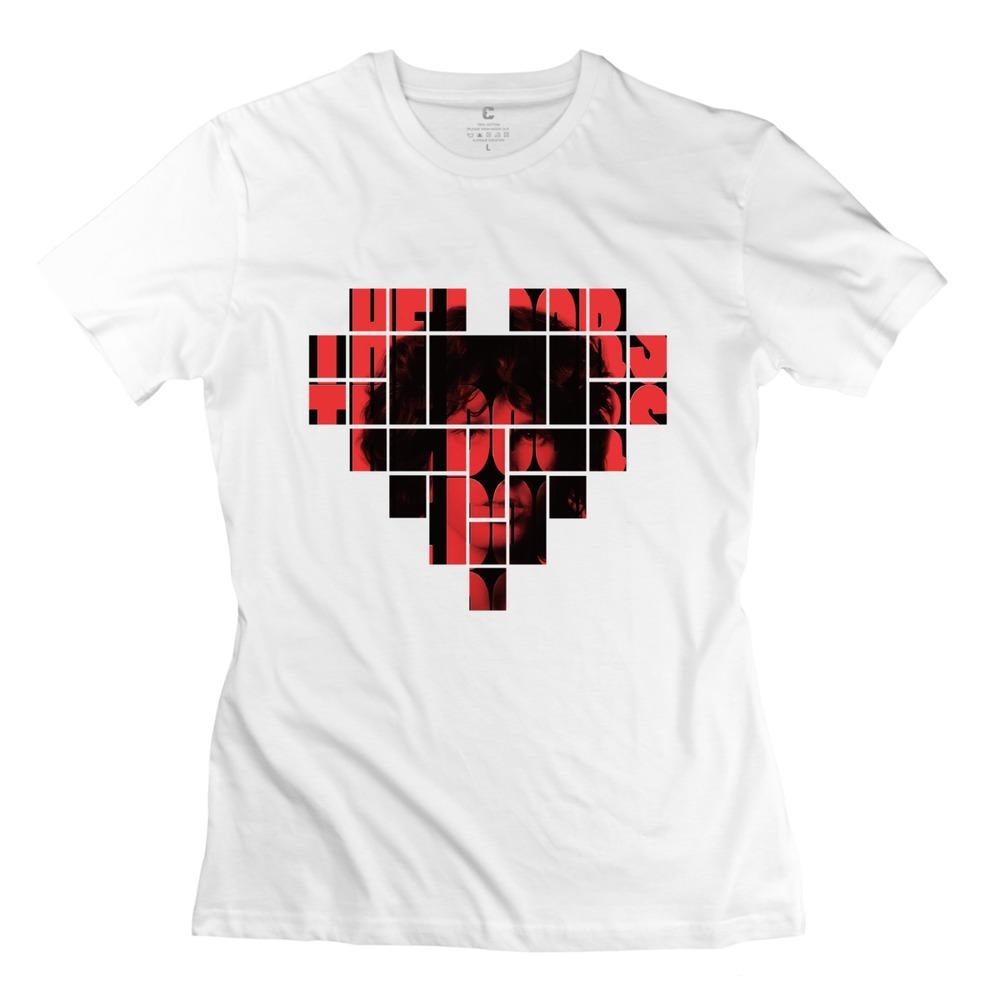 Hot sale t shirts cartoon The Doors band o collar girlfriend Geek t shirt for womens(China (Mainland))