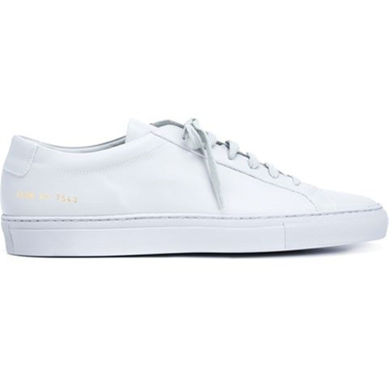 Фотография Brand Woman By Common Projects Men Shoes Spring Autumn Handmade White Genuine Leather Sheepskin Casual Shoes Chaussures Mujeres