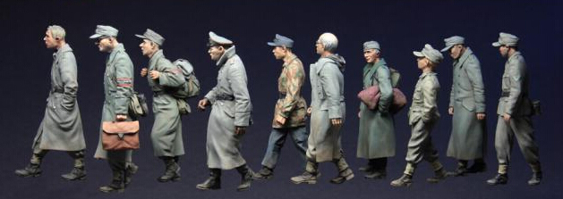 Free Shipping 1/35 Scale Unpainted Resin Figure WWII German Pows 1944-45 Big Set include 10 figures(China (Mainland))
