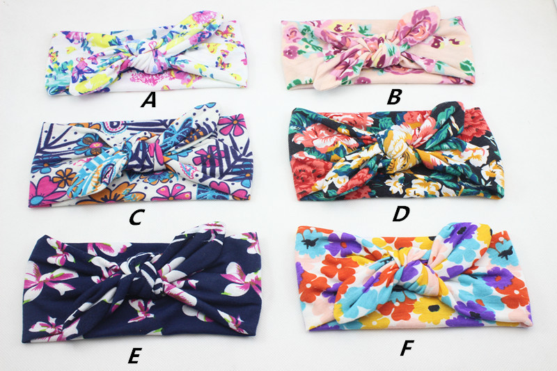 72pcs/lot Infant Baby Floral Printed Top Knotted Bow Headband for Girl Flower Baby Turban Headband Girl Cotton Headwrap hairwear(China (Mainland))