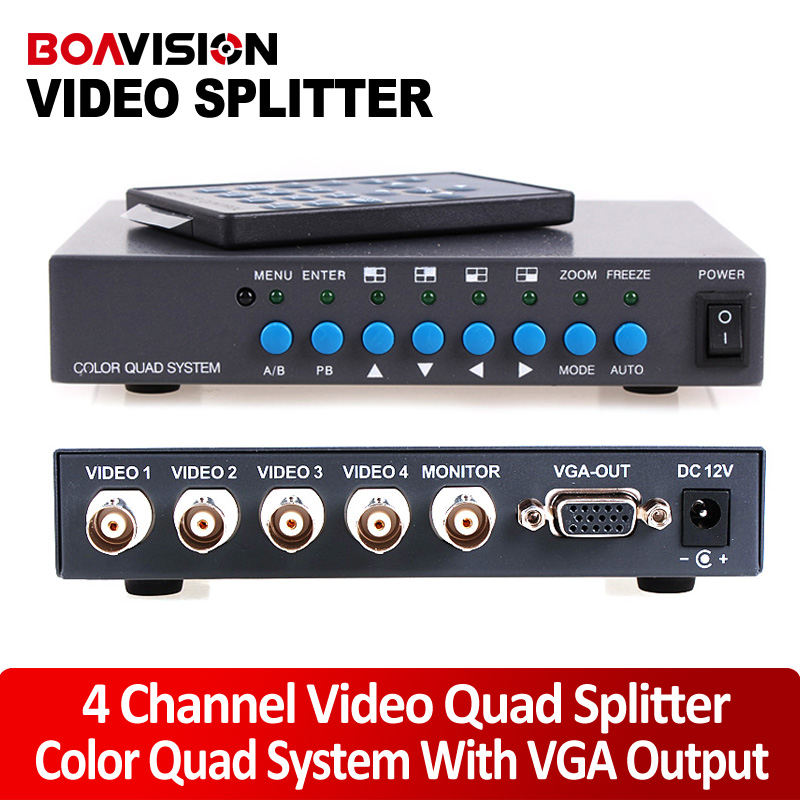 4CH Color Video Digital Color Quad Splitter Processor With VGA-OUT For CCTV Security System With BNC Switcher Splitter(China (Mainland))