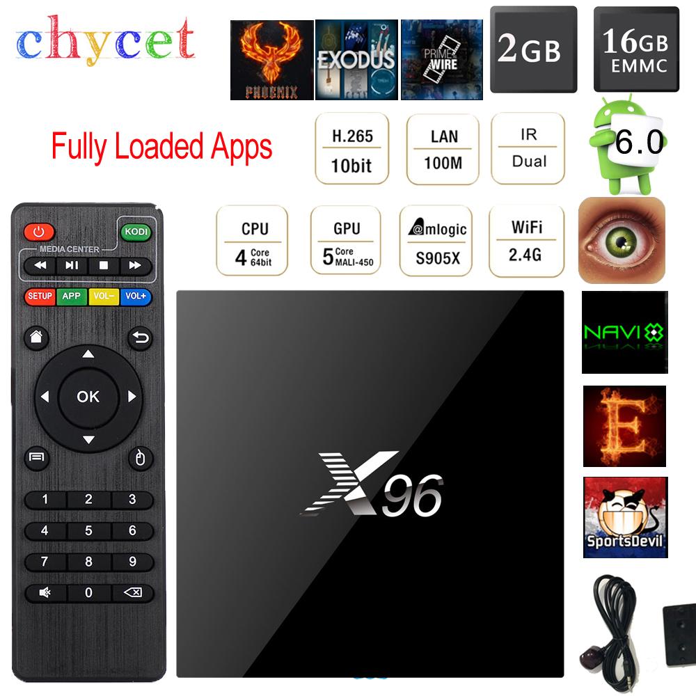 CHYCET Fully Loaded X96 Amlogic S905X 64bits Android 6.0 TV BOX Cortex A53 Quad Core 4K Set Top Box Wifi HDMI 2.0A Media(China (Mainland))
