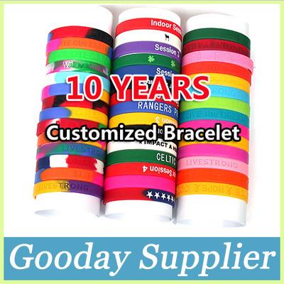 Здесь можно купить  Custom Silicone Bracelet Wristband Embossed/Debossed/Filling Color/Print Free Shipping by DHL Quantity Over 100 Pieces  Ювелирные изделия и часы