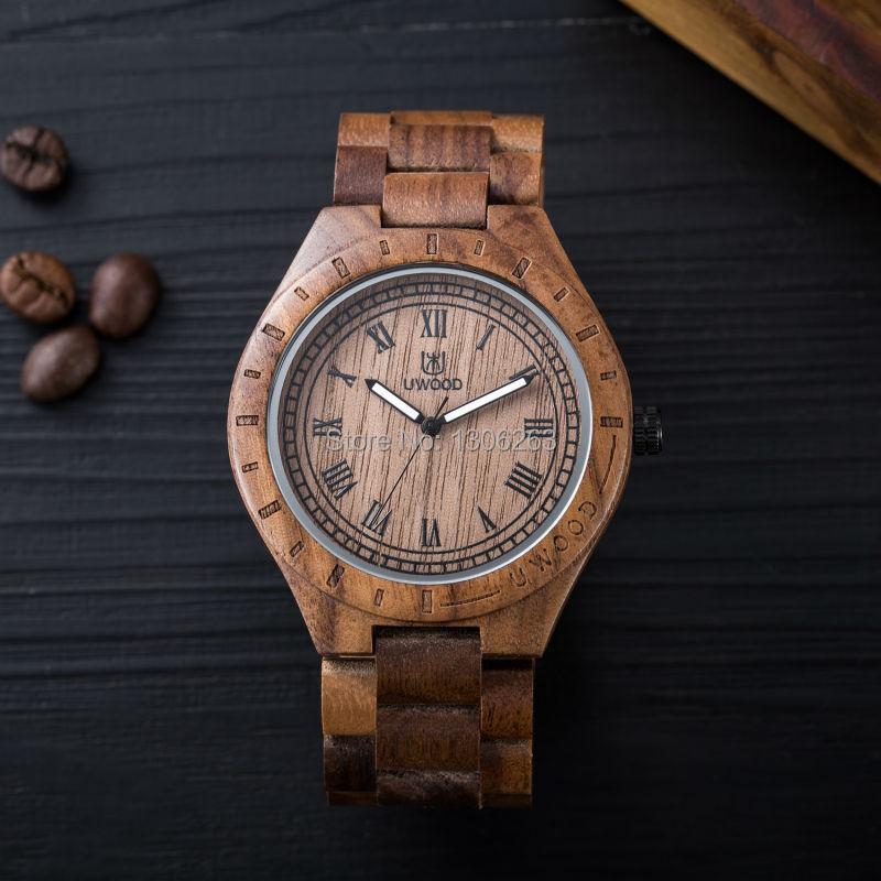 Новые Часы Дерево Мужчины Черный Сандал Ремешок Аналоговые Кварцевые Часы Бизнес Мужчины Повседневная Мужчины Платье Часы