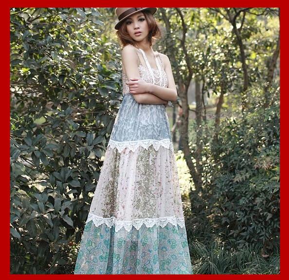 summer women clothing plus size colorful long chiffon dresses new fashion 2014 bandage bohemian dress - Beauty Co. Ltd store