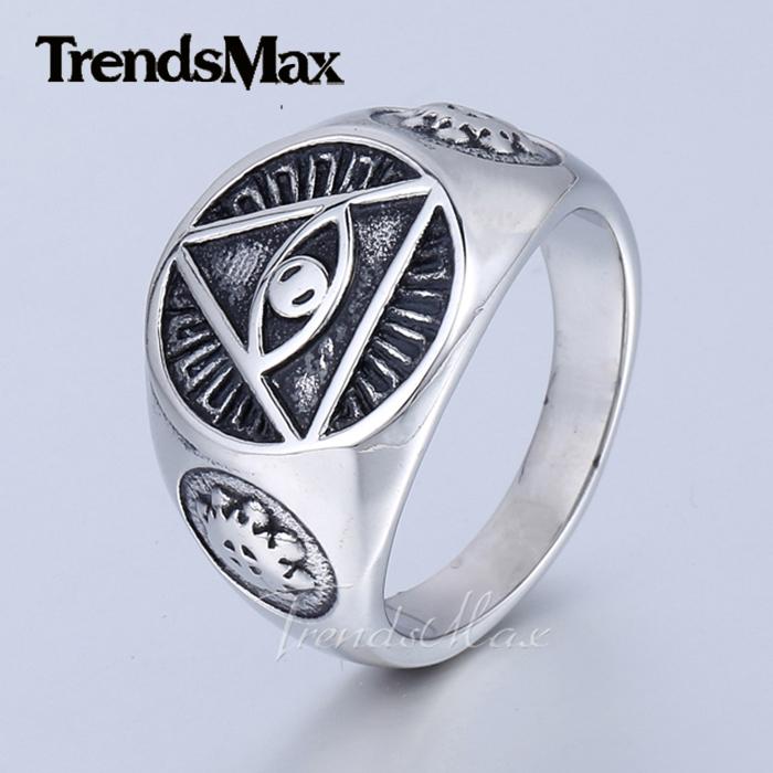 Mens Jewelry Illuminati pyramid eye symbol 316L Stainless steel Signet Ring HR365(Hong Kong)