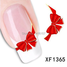Min.order is $10 (mix order) Water Transfer Nail Art Sticker Decal Beauty Cute Red Bows Flowers Design Manicure Tool