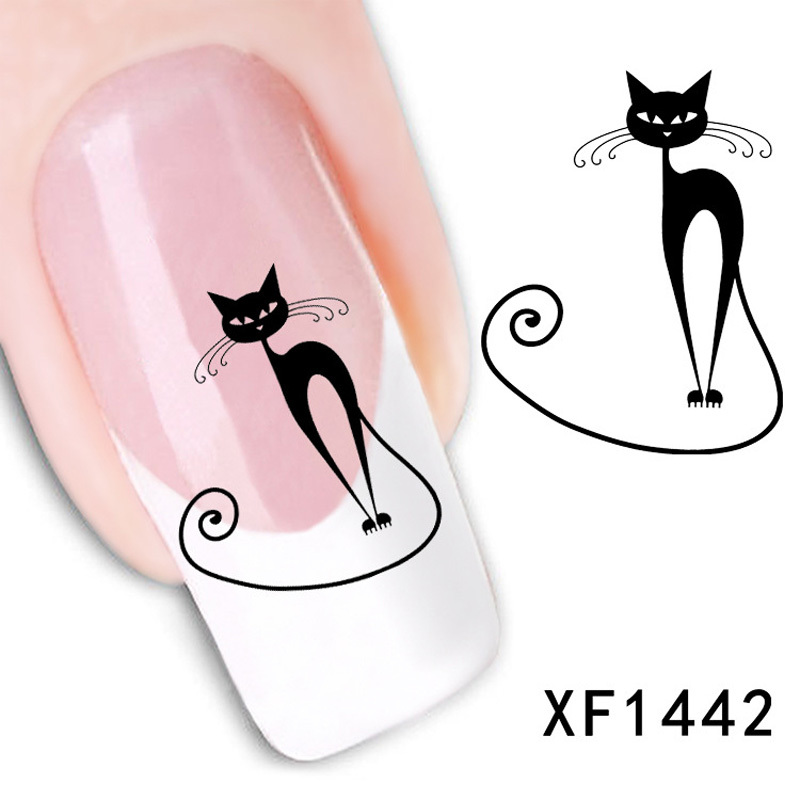 1pcs Beauty Nail Art Decoration Cute Black Cat Tip Nail Art Water Decals Stickers For Nails Design Beauty Manicure Makeup(China (Mainland))