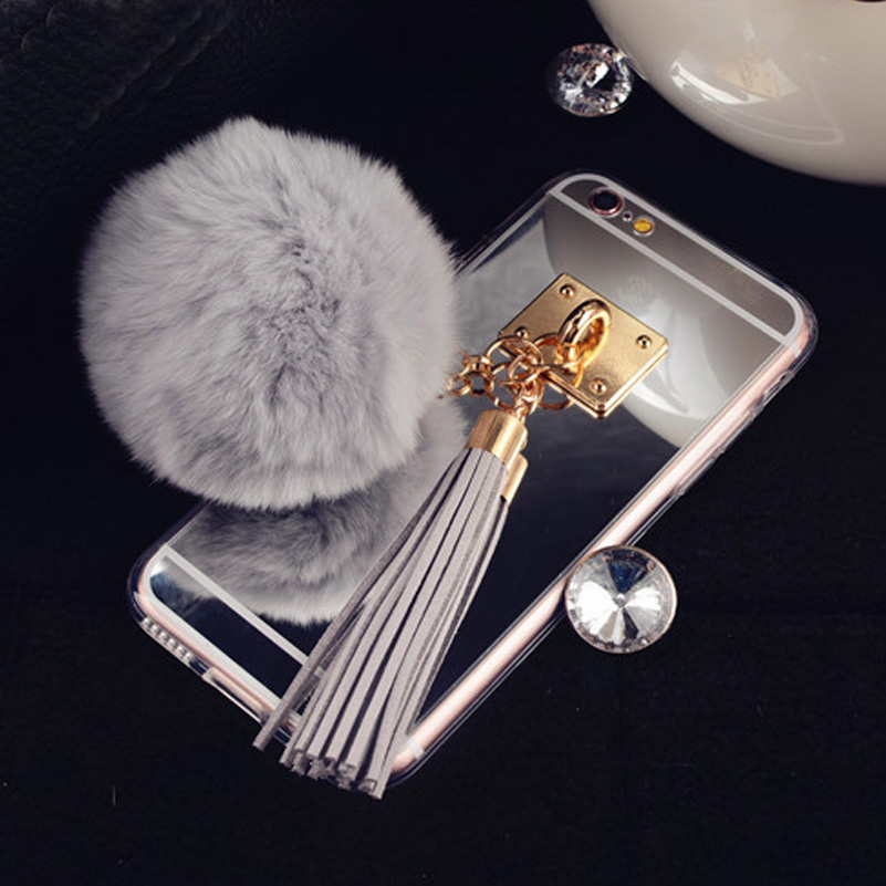 New Design Luxury Rabbit Hair Ball Tassel Phone Cases Covers For Apple iphone6 6s 6+ plus Mirror Fundas Capa For iphone 6 Case(China (Mainland))
