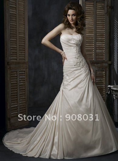 2011 hot Designer Light Gold lace Pleated Floral Taffeta A-Line Wedding Dress for wholesale/ retail+Free shipping