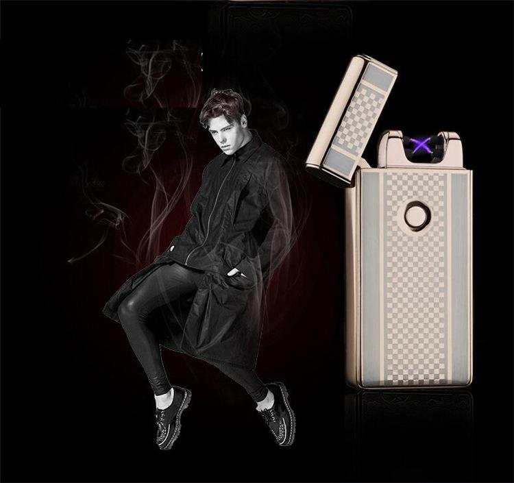 ถูก ขายส่งUSBชาร์จคู่arcรัฐบุหรี่Windproofเบาบางเฉียบสร้างสรรค์ของขวัญบุหรี่อิเล็กทรอนิกส์เบา