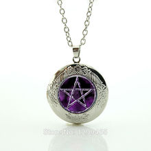 Bestselling purple Pentagram Wicca Pendant Japan Wiccan Jewelry Occult Charm necklaces Glass Cabochon locket pendant N695(China (Mainland))