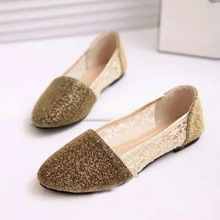 New Women Flats Shoes 2015 Pointed Toe Flats Women Loafers Moccasins Glitter Flat Shoes Women Slip On Ladies Flat Shoes(China (Mainland))