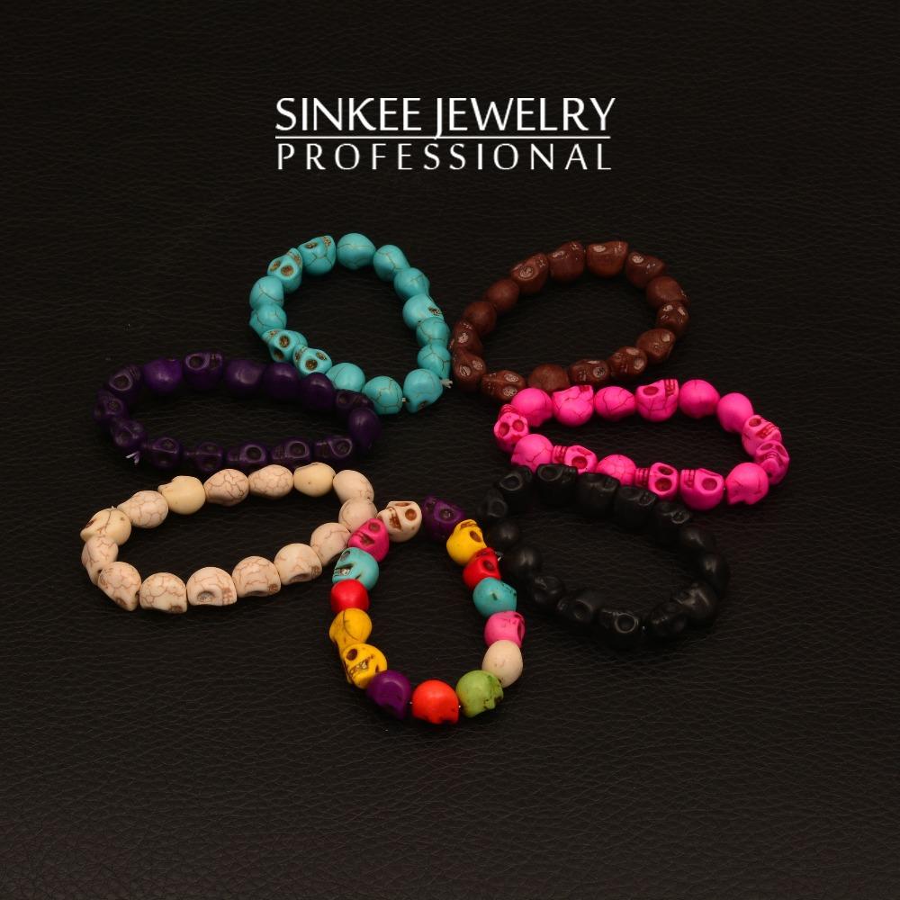 Sinkee Wholesale popular turquoise bracelet skull bracelets for men jewelry 2014 free shipping XB014(China (Mainland))