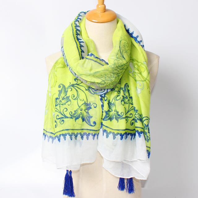 2016 новое поступление зима мода женщин марка дизайн обуви зеленый цветок печатных длинные 180 см кисти шарф большой размер шали
