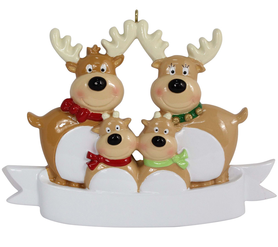 Reindeer Family Of 4 Resin Hanging Personalized Christmas ornaments As For Holiday or New Year Gifts or Home Decoration(China (Mainland))