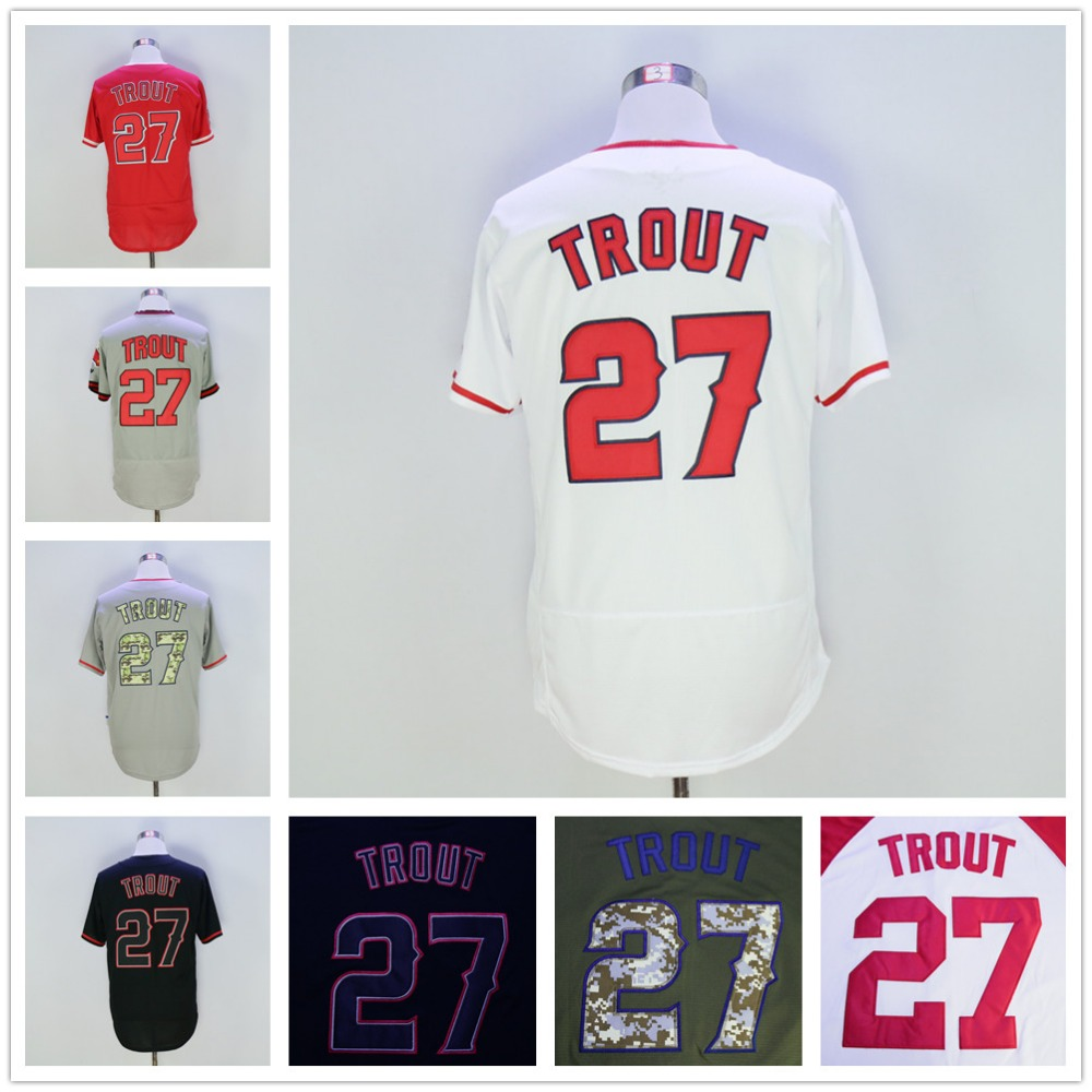 Mike Trout Jersey, Green Red Gray White Cream Black 2016 New(China (Mainland))