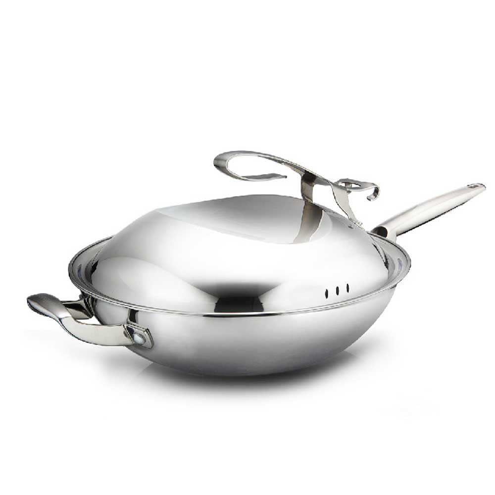 Heat Isolated Handle Panela Wok Ceramic Coated Stainless Steel Big Cooking Pot Non Stick Frying Pan with Free Standing Lid Woks(China (Mainland))