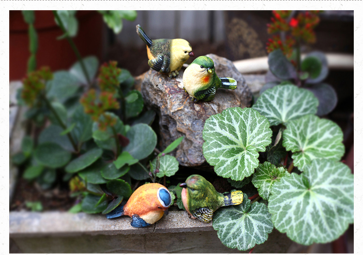 4pcs set creative birds garden decoration resin cute for Artificial birds for decoration