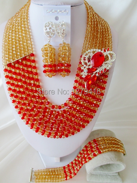 Wedding jewelry, fashion Nigeria Africa bead set the bride set crystal necklace bracelet earrings  H44<br><br>Aliexpress