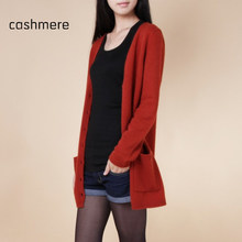 2015 Lady Wool Sweater Fashion Medium Long Cashmere Cardigan Women Loose Sweater For Female Outerwear Coat With Pockets AC121(China (Mainland))