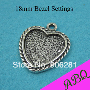 18mm Antique Silver Heart Blank Pendant Trays, Antique Silver Heart Cabochon Setting Trays(China (Mainland))