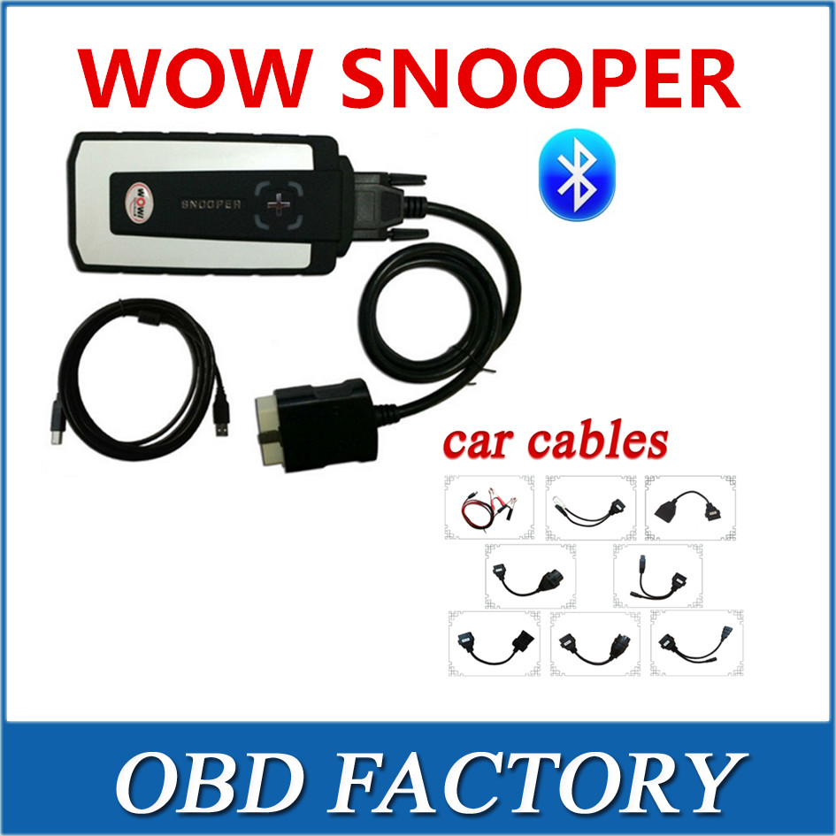Фотография DHL ship 2016 released wow snooper v5.008 R2 free active with bluetooth tcs cdp pro with 8 full set cables for car cable