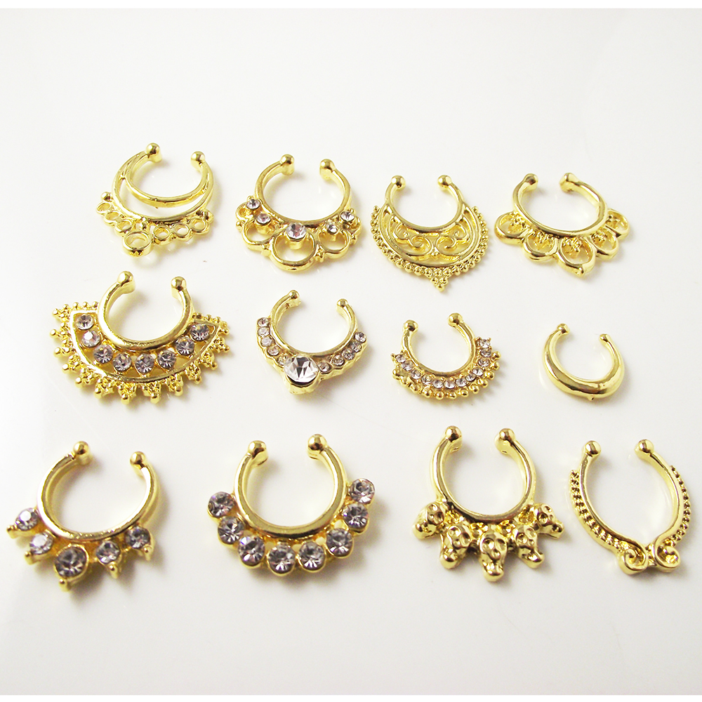 1 piece gold crystal nose ring fake septum rings piercing for Types of body jewelry rings