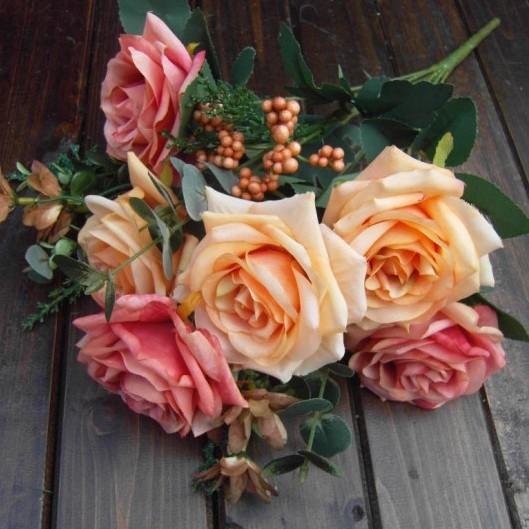 oil painting rose artificial flowers Home Decorative Flowers Wedding Bouquet Party Decoration 6 Buds - Desun Decor store