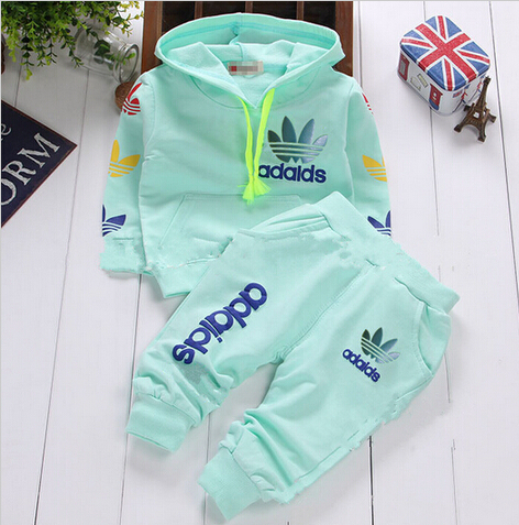 retail 2015 newborn infant baby boys girls autumn spring brand 2pcs clothing set kids tracksuit baby hooded shirt+pants sets(China (Mainland))