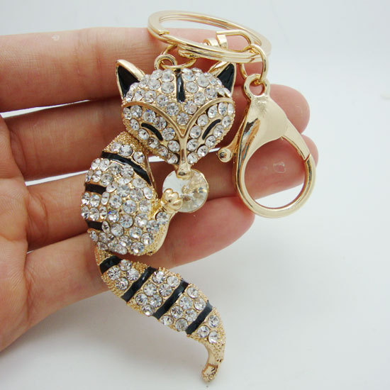 Lovely Key Chain Nagao Fox Black Rhinestone Crystal Fashion Woman Animal Wallet Keychain(China (Mainland))