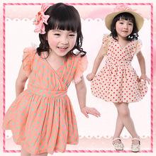 2016 High quality children dress dot chiffon new Kids Korean models baby dress baby girl clothing free shipping(China (Mainland))