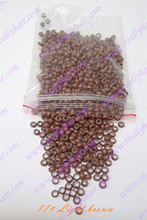 1000pcs/pack Light brown silicone micro nano bead with silicone line for Nano Hair Extensions tool kit 7 Colors Optional