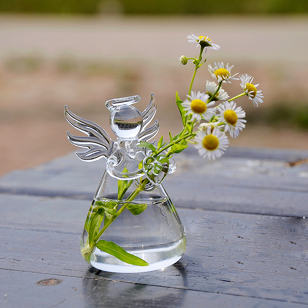 Hot New Cute Glass Angel Shape Flower Plant Stand Hanging Vase Hydroponic Home Office Wedding Decor(China (Mainland))