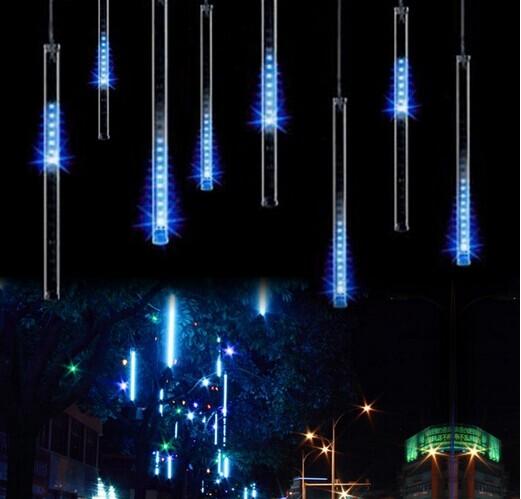 50CM Meteor Shower Rain Light LED Christmas Wedding Garden Decoration String Light Waterproof 8 Tube Super Bright free shipping(China (Mainland))
