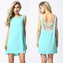 Summer Style 2015 New Summer Dress O-Neck Light Blue Sleeveless Lace Chiffon Women Dress Vestidos