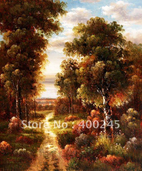 Landscape painting,impressionist style, Decorative painting,Forest Road II,Musuem Quality!100% hand printed ,free shipping(China (Mainland))