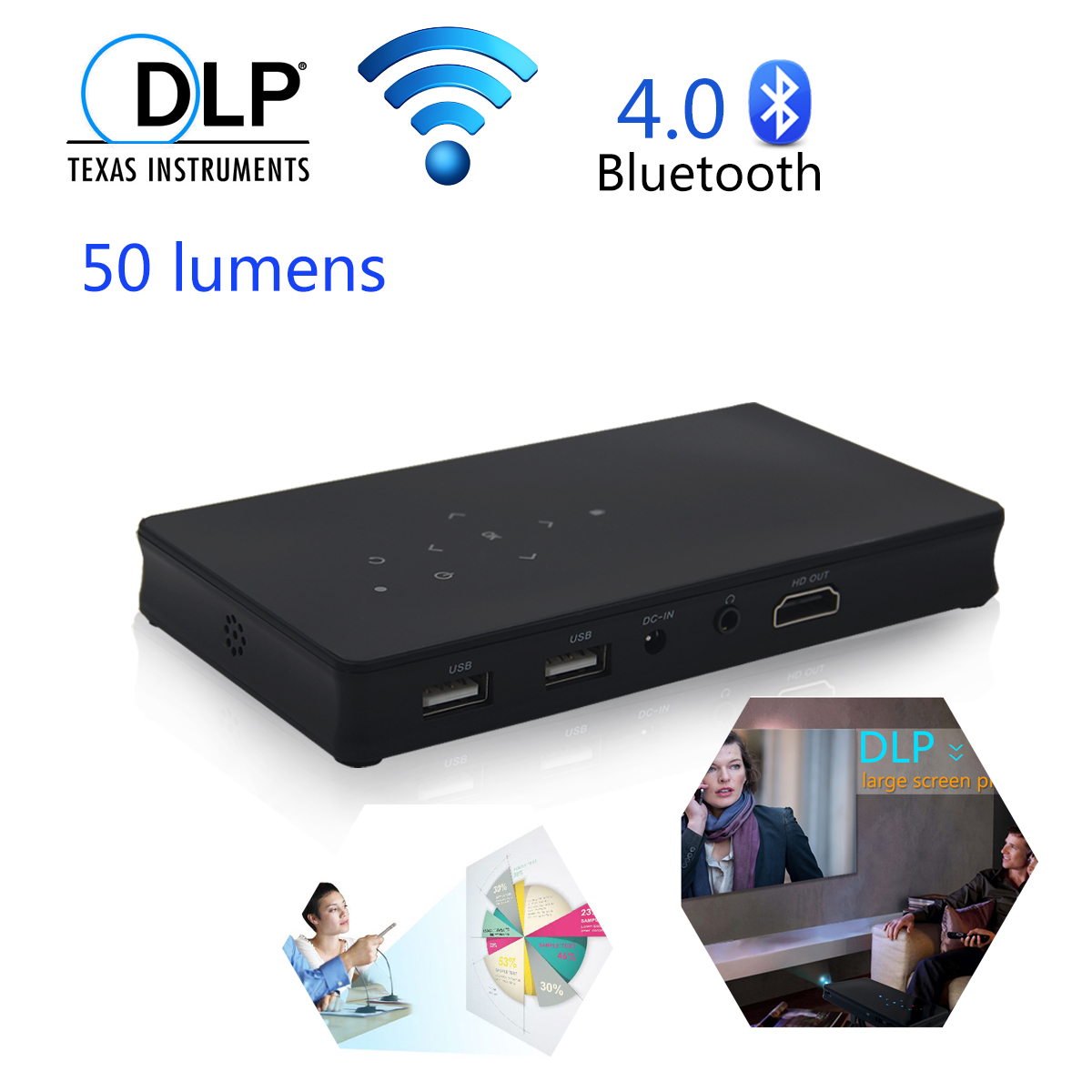 Portable Home Theater Cinema DLP Projector Android4.4 WiFi Bluetooth HDMI US home cinema(China (Mainland))
