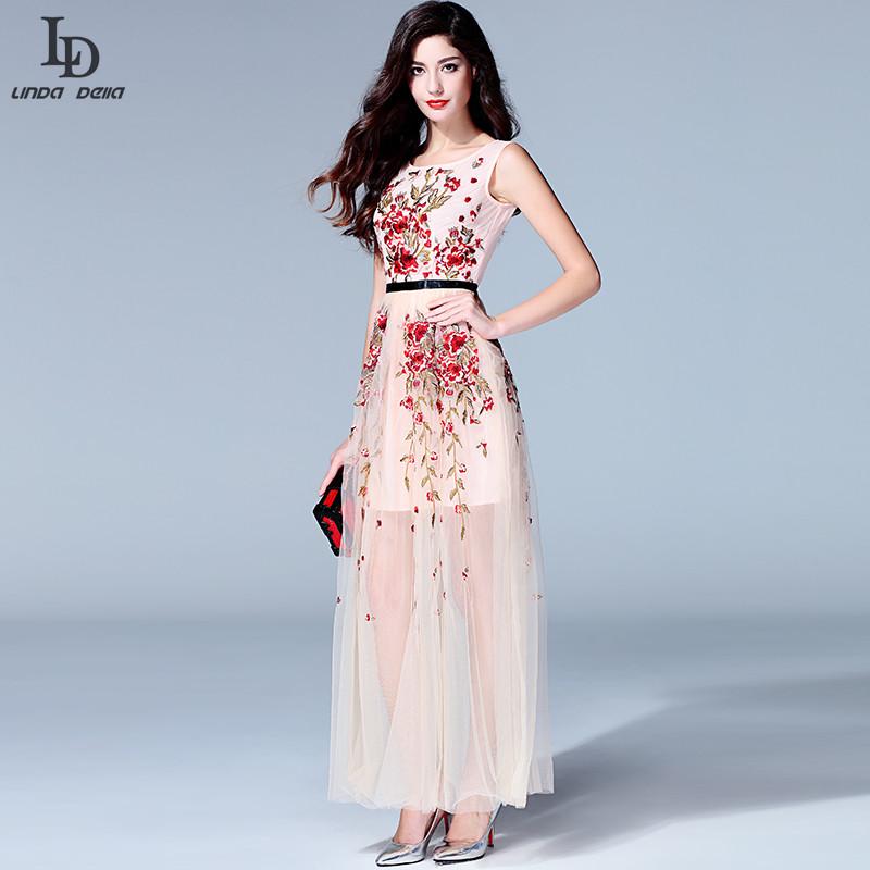 luxury high quality 2015 designer runway maxi dress women sleeveless