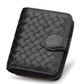 Handmade Knitting Fashion Wallet Women Trendy New Genuine Leather Purse Korean Style Designer Woven Pattern Sheepskin